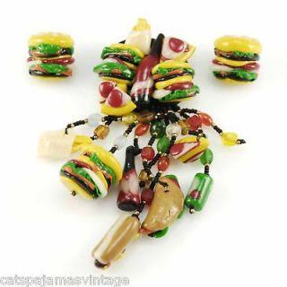 Vintage Fast Food Jewelry Hamburger & Hotdog & Coke Set1980s
