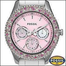 New Womens Fossil Stella Watch Pink Face White Silicon Band ES2895 NWT