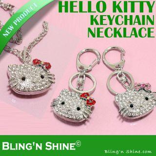 Hello Kitty KeyChain Necklace Swarovski Crystal KeyRing Pendant Charm
