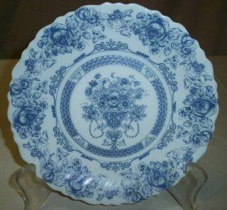 Arcopal France Honorine Pattern Blue & White Floral 7 1/2 Salad Plate