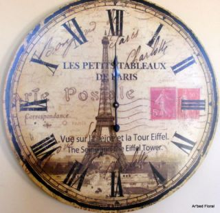 Large 24 Paris Eiffel Tower Wall Clock French Decor