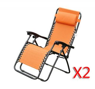 Set of 2 Zero Gravity Chair Folding Recliner Patio Pool Lounge Chairs