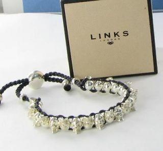 Links of London Black Skull Friendship Bracelet Sterling Silver Skulls