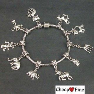 Tibetan Silver mixed animal(Horse elephant cat deer) Charm dangle bead