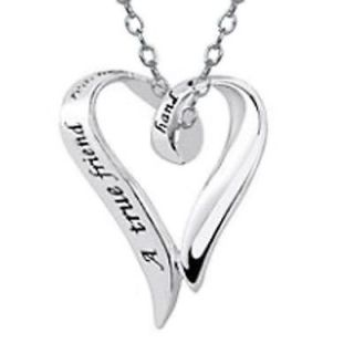Love Frienship True Friend Ribbon Heart Sterling Silver Necklace 18