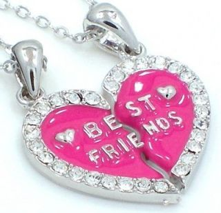 New BEST FRIEND Heart Pink 2 Pendants 2 Necklaces Magenta Fast Ship