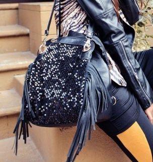 LADIES FUNKY FRINGE SEQUIN HIGH QUALITY BACKPACK HANDBAG SHOULDER BAG