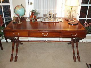 Antique Campaign Desk with Matching Chair, Solid Wood with Inlay