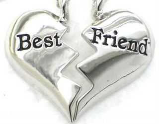 New ♥ BEST FRIEND ♥♥ Heart Silvertone 2 Pendant & 2 Necklaces