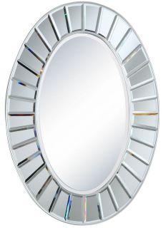 Oval Modern Contemporary Silver Wood Beveled Bathroom Vanity Mirror