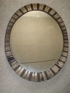 TURNER inspired FRAMED OVAL HANGING WALL MIRROR Silver Black accessory