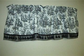 French Country Valance Waverly Rustic Life Toile Fabric; Black on