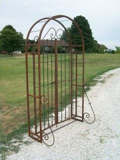 Entry Garden Arbor and Gate Combination with 6 Gate, Wrought Iron