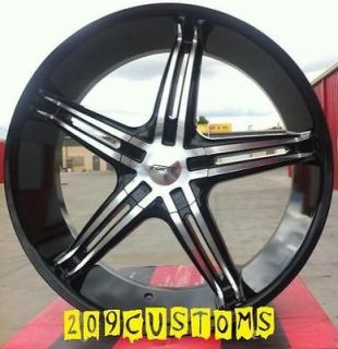 20 INCH WHEELS RIMS TIRES FORTE 56 BLACK 6X139.7 GMC SIERRA 2000