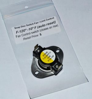 "Earth Stove Pellet Low Limit Switch Fan Auger F120 ¾"" inst"