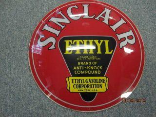 sinclair ethyl anti knock gas gasoline glass globe panel sign pump