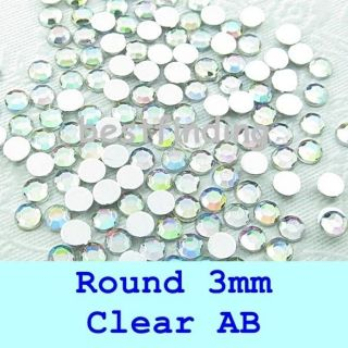 Flat Back Gems Round 3mm Nail Art Rhinestones Pick Quantity Clear AB
