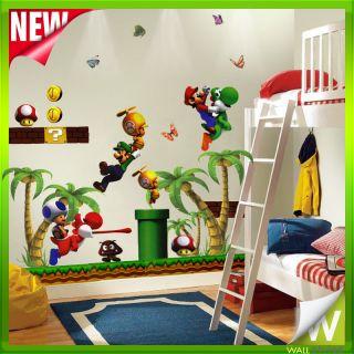 Super Mario Game Tree Wall Stickers Decor Decal Art For Nursery Bedoom