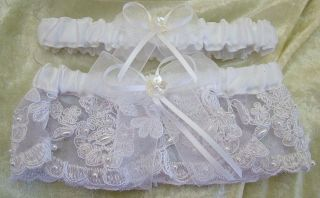 White Satin and White Lace Beaded Flower Ribbon Wedding Garter belt
