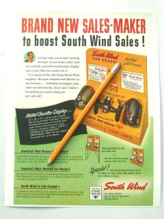 SOUTH WIND CAR HEATER AD STEWART WARNER GARAGE ART GAS STATION FORD