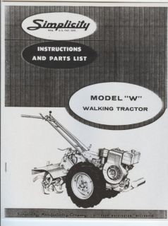 Simplicity Model W Walking Garden Tractor Manual