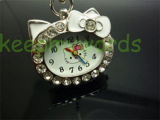Kitty Blue Crystal Stone Necklace Pendant Pocket Watch & Free Gift Box