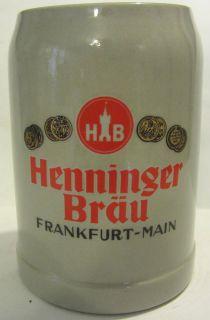 GERZ HB HENNINGER BRAU FRANKFURT MAIN CERAMIC BEER STEIN   W GERMANY