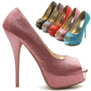 Platforms Pumps Stilettos Open Toe Multi Colored Glitter High Heels