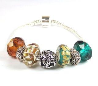 Charm Bracelet Starter Teal Green Amber Murano Glass Bead Large Hole
