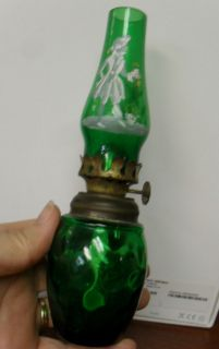 ANTIQUE MINIATURE GREEN GLASS KEROSENE/OIL LAMP WITH MARY GREGORY