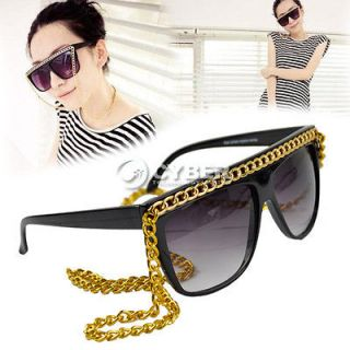 New Black Tone Gold/Silver Chain Sunglasses Lady Glasses Eyeglasses