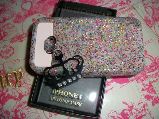 Juicy Couture iPhone 4 4S White Glitter Jelly Case Crystal Crown Charm