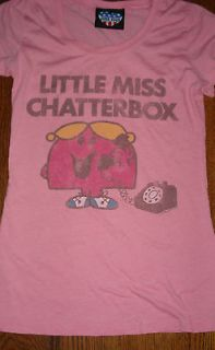 GIRLS JUNK FOOD LITTLE MISS CHATTERBOX T SHIRT SIZE MEDIUM PINK CUTE