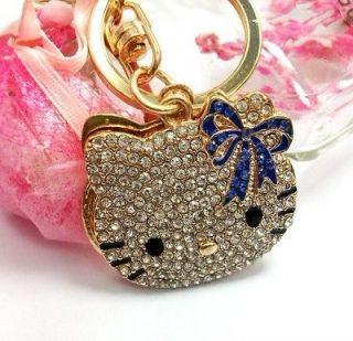 Butterfly Cute Swarovski Crystal Hello Kitty Cat Key Chain Ring Gift