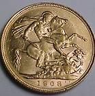 HALF SOVEREIGN GOLD BRITISH COIN 1908 KING EDWARD VII