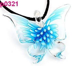 Butterfly lampwork murano art glass beaded pendant necklace p0321