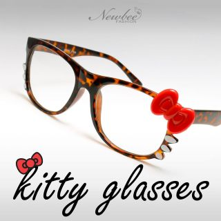 Cute Hello Kitty Style Glasses Clear Non Optical Lenses Tortoise Frame