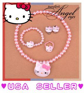 Hello Kitty Charm Necklace Bracelet Ring Earring Costume Dress Pearl