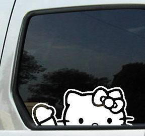 HELLO KITTY WAVING STICKER DECAL BADGE VINYL WHITE CAR AUTO REAR