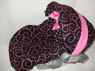 BLACK PRINT/PINK MINKY DOTS INFANT CAR SEAT COVER/Snug Ride 32 fit