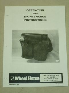 WHEEL HORSE GARDEN TRACTOR 37 REAR GRASS BAGGER MANUAL
