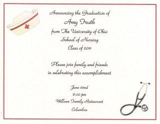 10 Nursing RN Graduation Party Invitations Personalized