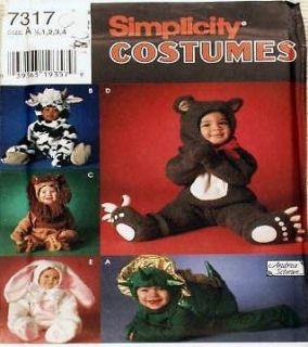 Baby Toddler Halloween costume pattern ANIMALS dinosaur lion bear cow