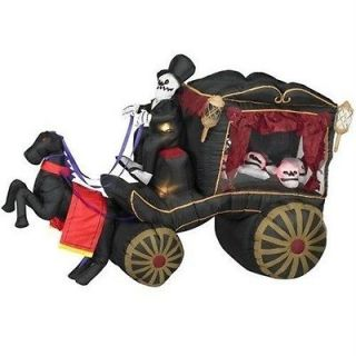 Airblown Inflatable HALLOWEEN 8 Horse Drawn HEARSE yard decor Lights