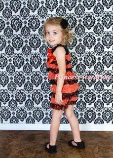 Halloween NewBorn Baby Black Orange Layer Chiffon ONEPIECE Petti