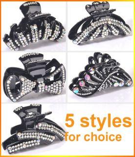 Rhinestone Hair Accessories Lady Girl Women Plastic Clip Claw Clamp
