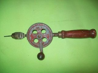 Vintage Antique Hand Crank Drill Old Attic Find, Wooden Handle