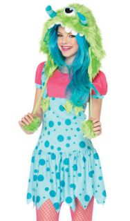 Teen Tween Junior Girls Blue Pink Cute Monster Halloween Costume