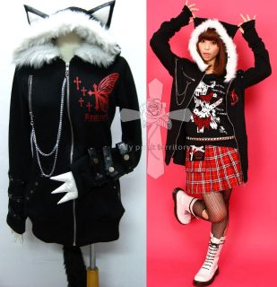 Jrock Visual Kei Butterfly Hell MEOW Hoodie EMO Jacket