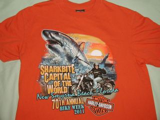 Mint Genuine Harley Davidson Dealer Shirt,XL,Orange,Florida,BIKE WEEK